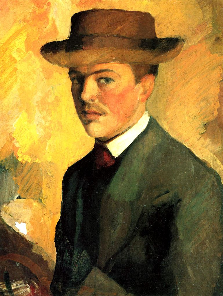 August Macke. Selbstporträt mit Hut (1909). Fra      http://upload.wikimedia.org/wikipedia/commons/thumb/2/23/August_Macke_043.jpg/769px-August_Macke_043.jpg